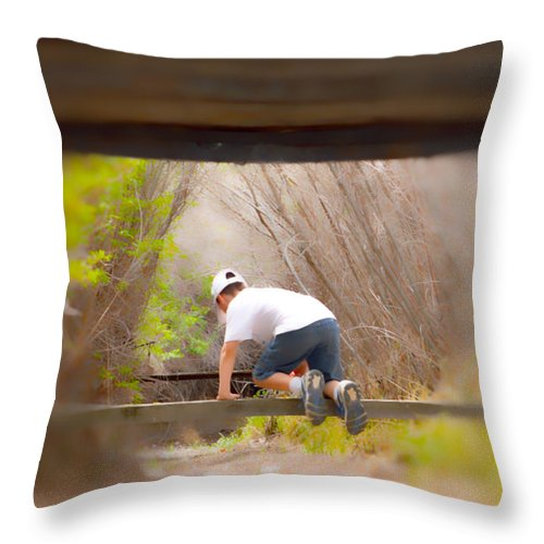 Boy Throw Pillow featuring the photograph Climb On Over by Brent Dolliver