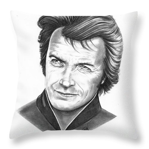 Portrait Throw Pillow featuring the drawing Clint Eastwood by Murphy Elliott