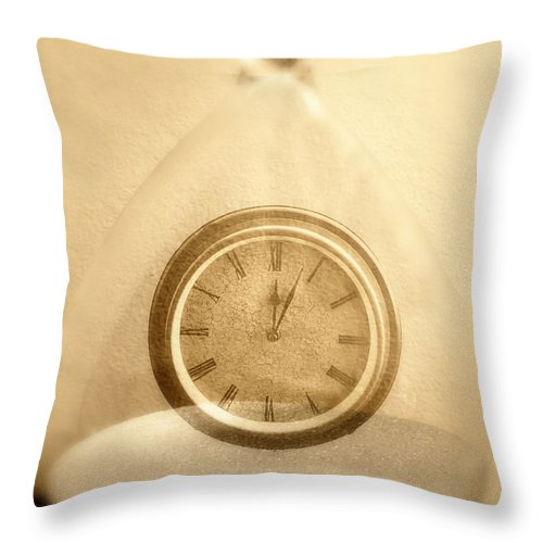 Time In A Bottle Throw Pillow featuring the photograph Clock In An Hour Glass by Birgit Tyrrell