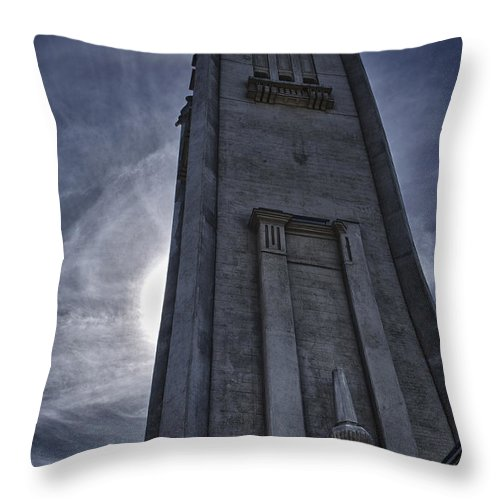 Hdr Throw Pillow featuring the photograph Clock Tower At Montreal by Joel Bourgoin