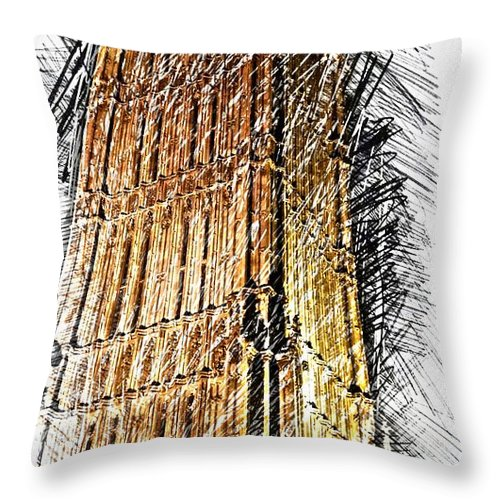 Clock Tower Throw Pillow featuring the digital art Clock Tower At Night by Eve Mercer