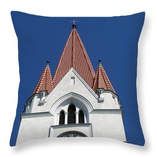 Clock Throw Pillow featuring the photograph Clock Tower. Evangelic Lutheran Church. Silute. Lithuania. by Ausra Huntington nee Paulauskaite