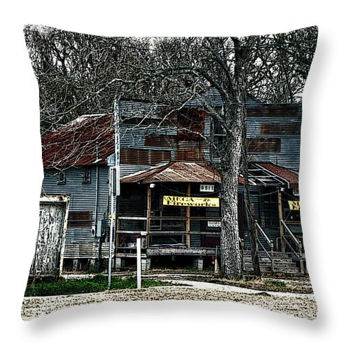 Clodine Texas Canvas Print Throw Pillow featuring the photograph Clodine Post Office by Lucy VanSwearingen