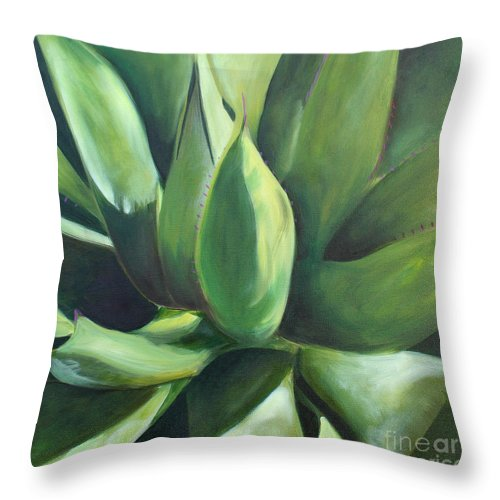 Cactus Throw Pillow featuring the painting Close Cactus II - Agave by Debbie Hart
