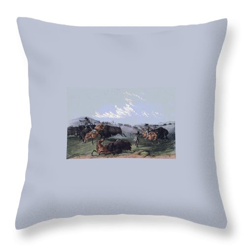 Close Quarters Throw Pillow featuring the digital art Close Quarters by Currier and Ives