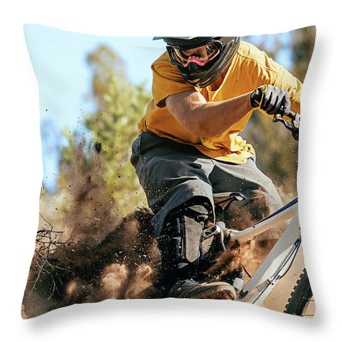 Headwear Throw Pillow featuring the photograph Close Up Of A Mountain Biker Ripping by Daniel Milchev