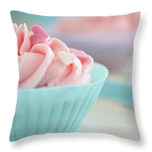 Sugar Throw Pillow featuring the photograph Close Up Of Cupcakes by Dhmig Photography