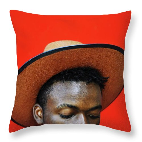 Young Men Throw Pillow featuring the photograph Close-up Of Man Wearing Hat Against Red by Samson Wamalwa / Eyeem