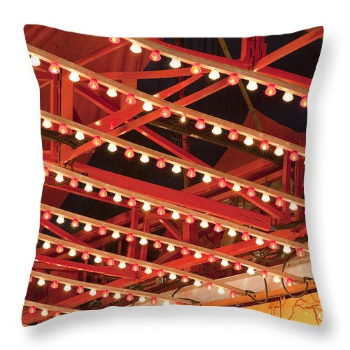 Americana Throw Pillow featuring the photograph Close Up Of Multi Colored Lights by Jim Corwin