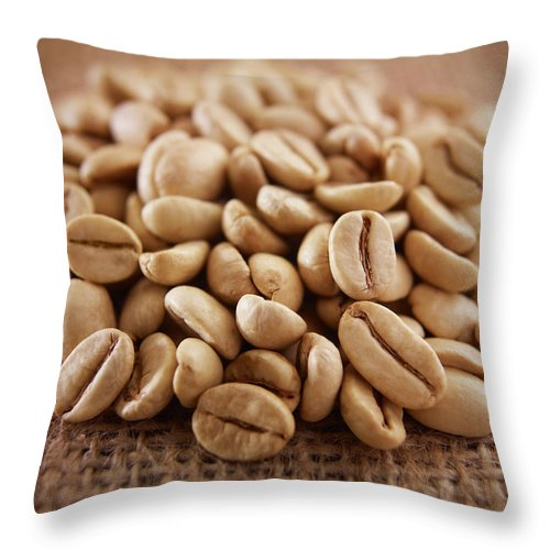Heap Throw Pillow featuring the photograph Close Up Of Raw Coffee Beans by Adam Gault