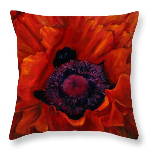 Red Poppy Throw Pillow featuring the painting Close up Poppy by Billie Colson