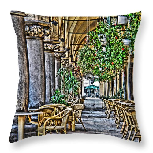 European Cafe Throw Pillow featuring the digital art Cloth Hall Cafe In Krakow by Greg Matchick