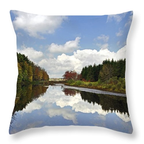 Fall Throw Pillow featuring the photograph Autumn Lake Reflection Landscape by Christina Rollo