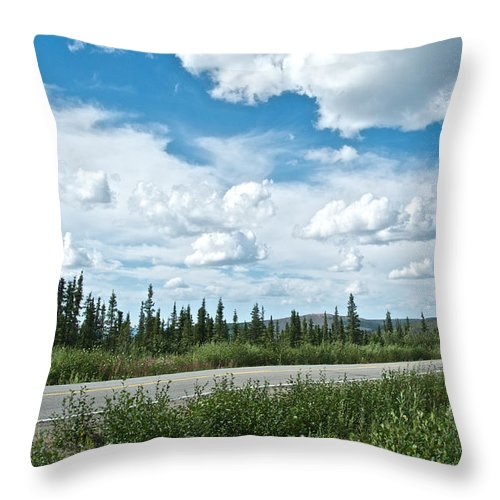 Clouds Above Taylor Highway To Chicken Throw Pillow featuring the photograph Clouds Above Taylor Highway To Chicken-ak by Ruth Hager