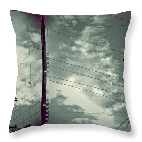 Powerline Throw Pillow featuring the photograph Clouds And Power Lines by Patricia Strand