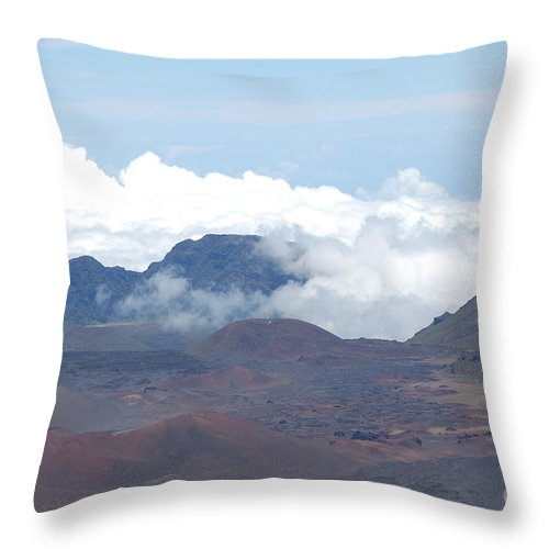 Haleakala Throw Pillow featuring the photograph Clouds At Haleakala by Mark Thompson
