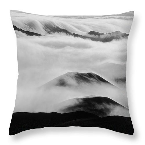 Mountains Throw Pillow featuring the photograph Maui Hawaii Haleakala National Park Clouds In Haleakala Crater II by Jim Cazel