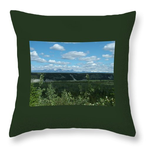 Cloud Throw Pillow featuring the photograph Clouds Mountains And Trees by Geoffrey McLean