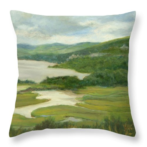 Oil Landscape Throw Pillow featuring the painting Clouds Over Constitution Marsh by Phyllis Tarlow