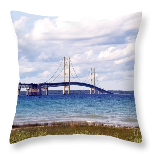 Bridge Throw Pillow featuring the photograph Clouds Over Mackinaw by Melissa McDole