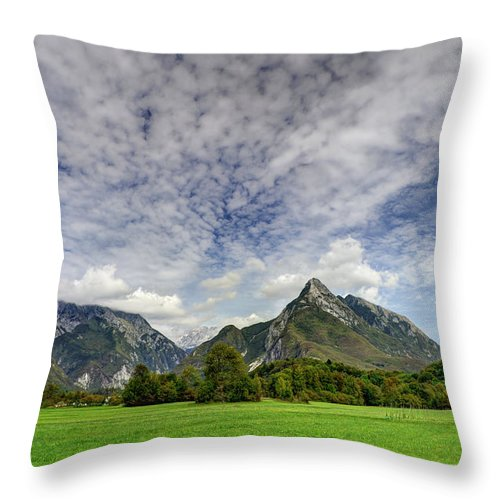 Landscape Throw Pillow featuring the photograph Clouds Over The Mountains by Ivan Slosar