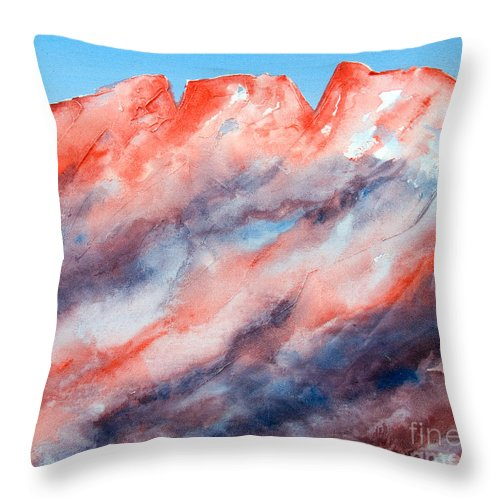 Mountains Painting Throw Pillow featuring the painting Clouds Roll In by Kandyce Waltensperger
