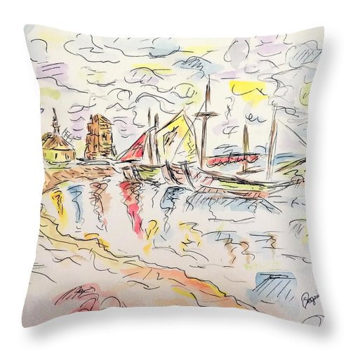 Throw Pillow featuring the painting Cloudy Afternoon by Nicolas Segoviano