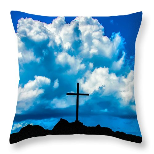 Cross Throw Pillow featuring the photograph Cloudy Cross by Alex Hiemstra