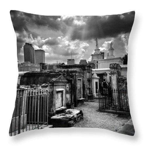Path Throw Pillow featuring the photograph Cloudy Day At St. Louis Cemetery In Black And White by Chrystal Mimbs