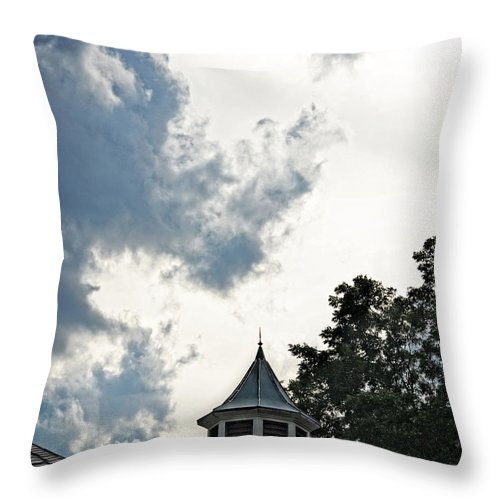 Cloudy Steeple Throw Pillow featuring the photograph Cloudy Steeple by Maggy Marsh