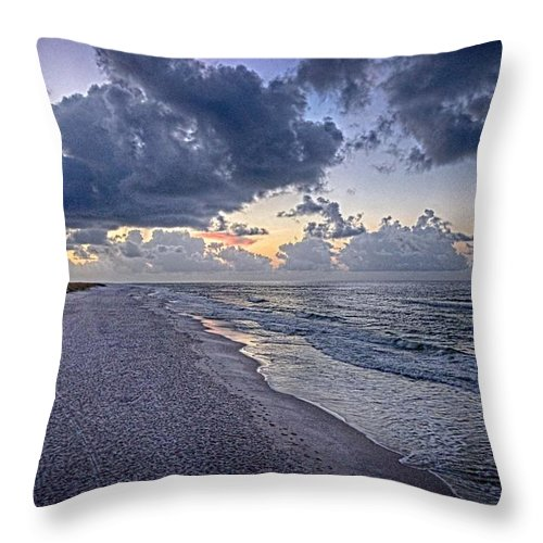 Palm Throw Pillow featuring the digital art Cloudy Sunrise Over Orange Beach by Michael Thomas