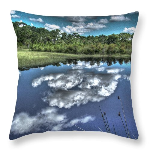 Clouds Throw Pillow featuring the photograph Cloudy Waters by Deborah Klubertanz