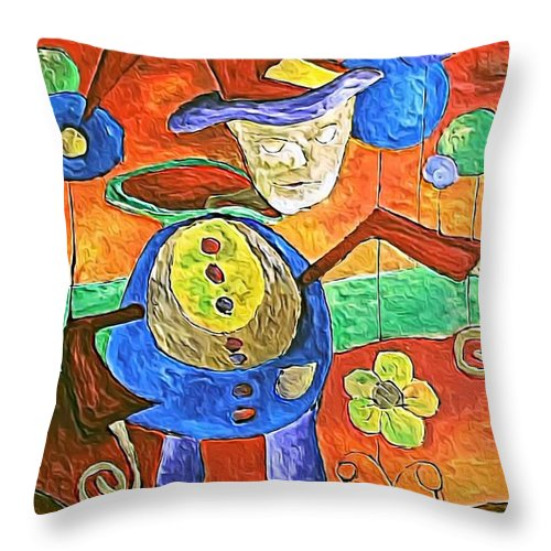 Abstract Throw Pillow featuring the digital art Clown 530-11-13 Marucii by Marek Lutek