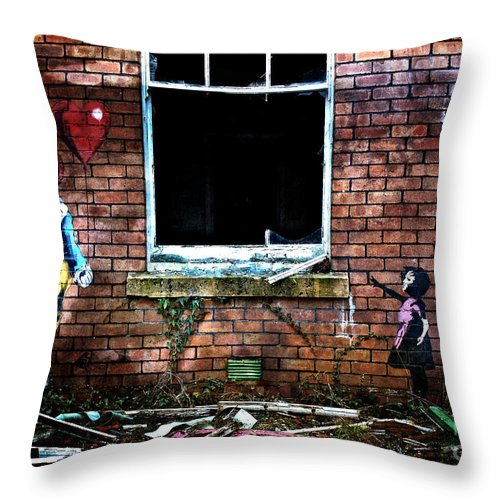 Graffiti Throw Pillow featuring the photograph Clown With A Heart by Pete Moyes