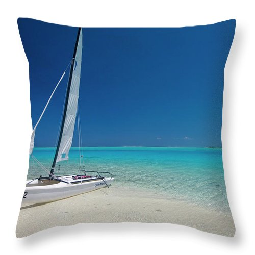 Club Med Throw Pillow featuring the photograph Club Med Sailing Catamaran On Shore Of by Merten Snijders