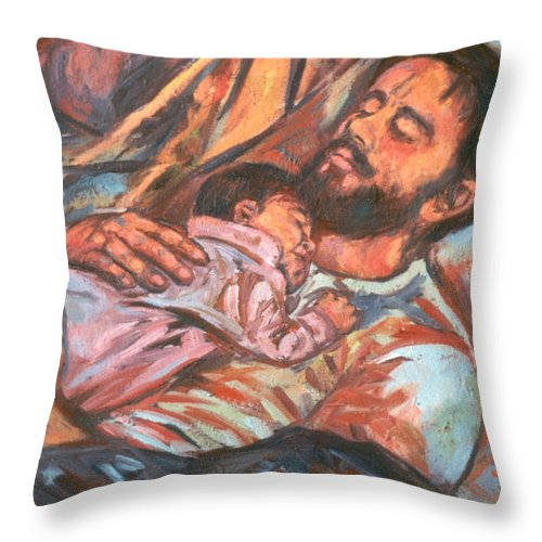 Figure Throw Pillow featuring the painting Clyde And Alan by Kendall Kessler
