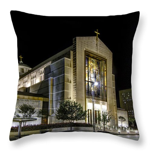 Downtown Throw Pillow featuring the photograph Co-cathedral Of The Sacred Heart by Tim Stanley