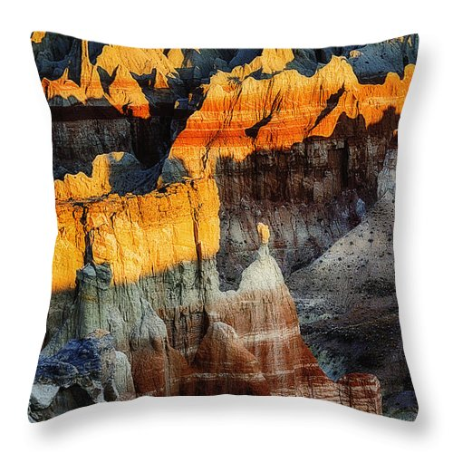 Coal Mine Canyon Throw Pillow featuring the photograph Coal Mine Canyon Aglow by Priscilla Burgers