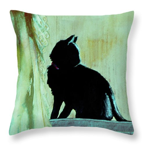 Cat Throw Pillow featuring the painting Coaly by Jill Westbrook