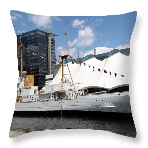 Coast Guard Throw Pillow featuring the photograph Coast Guard 37 - Baltimore Harbor by Christiane Schulze Art And Photography