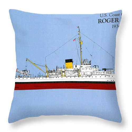 Taney Throw Pillow featuring the drawing Coast Guard Cutter Taney by Jerry McElroy - Public Domain Image