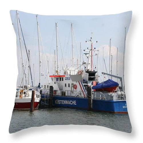 Harbor Throw Pillow featuring the photograph Coast Guard Maasholm Harbor by Christiane Schulze Art And Photography
