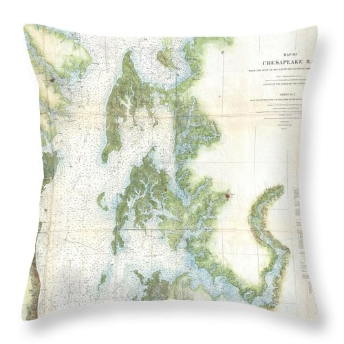 Throw Pillow featuring the photograph Coast Survey Chart Or Map Of The Chesapeake Bay by Paul Fearn