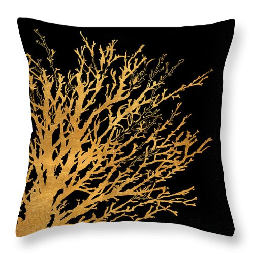 Coastal Throw Pillow featuring the painting Coastal Coral On Black II by Lanie Loreth