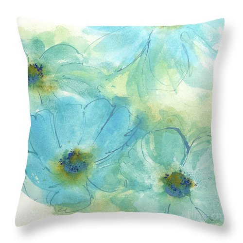 Original Watercolors Throw Pillow featuring the painting Coastal Cosmos 2 by Chris Paschke