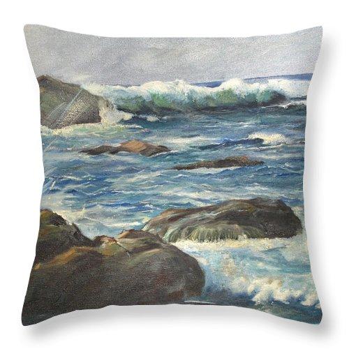 Ocean Throw Pillow featuring the painting Coastal Maine by Barbara McDevitt