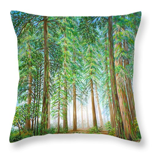 Trees Throw Pillow featuring the painting Coastal Redwoods by Jane Girardot