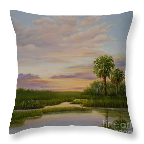 Coastal Marsh At Sunset Throw Pillow featuring the painting Coastal Sunset by Audrey McLeod