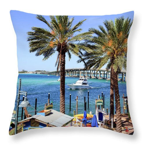 Bay Of Water Throw Pillow featuring the photograph Coastal Waters Around Destin Florida by Ghornephoto