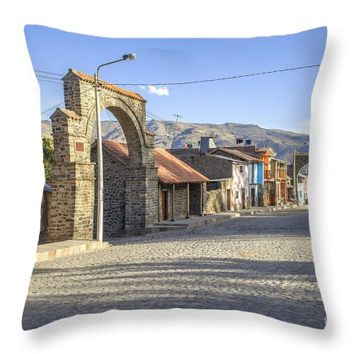 Traditional Throw Pillow featuring the photograph Cobblestone Street In Coporaque by Patricia Hofmeester